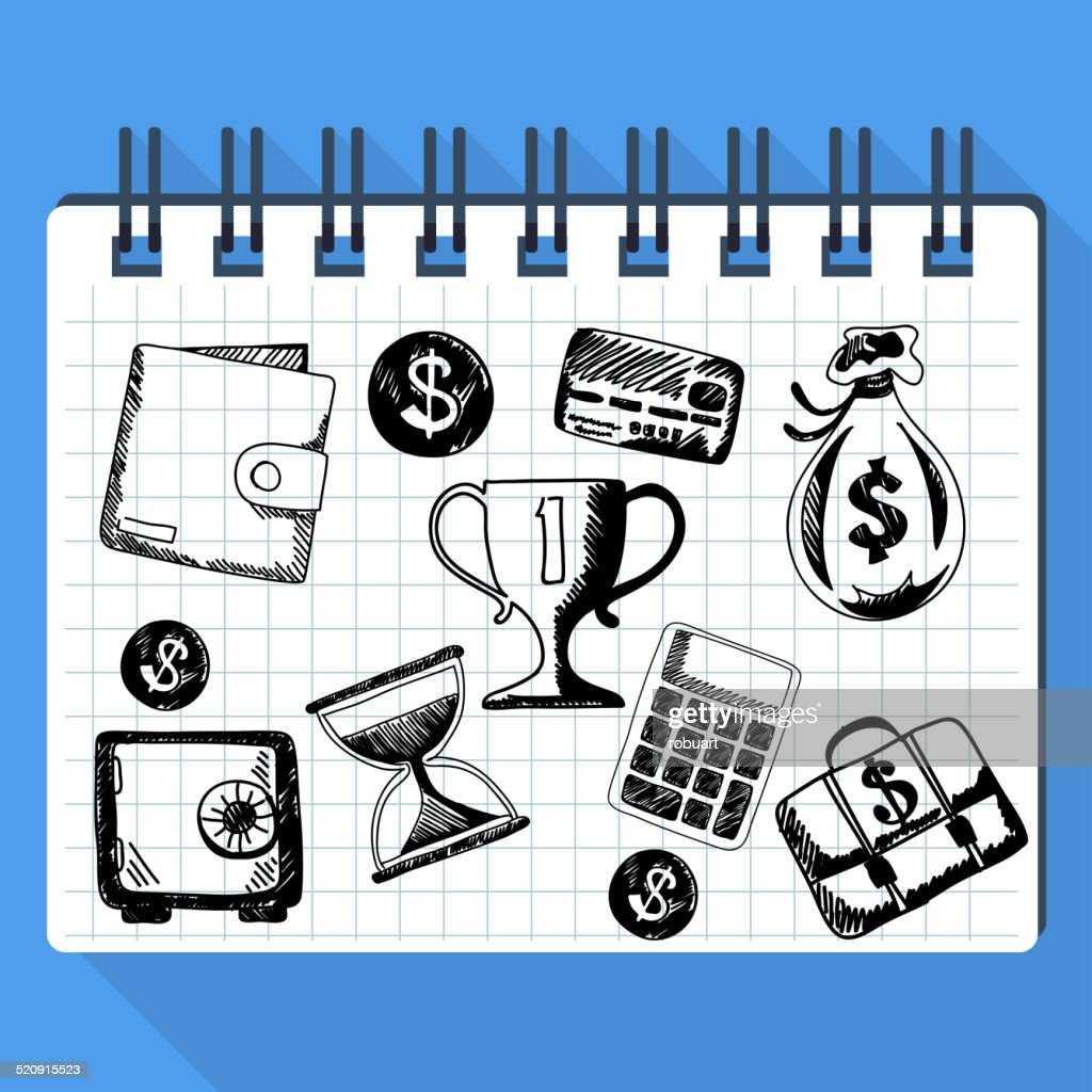 Sketch of business concept and money