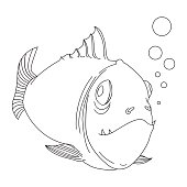 Sketch of cartoon fish.