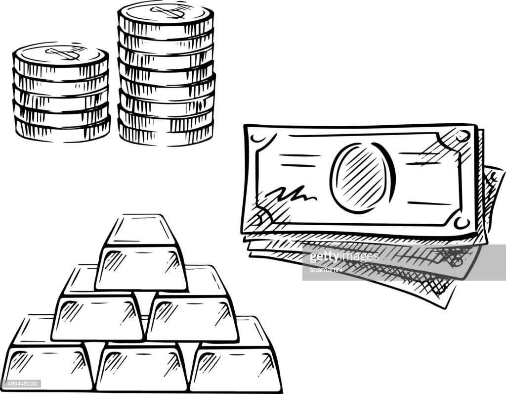 Sketch of dollar bills, coins and gold bars