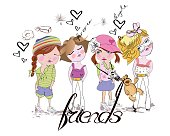 Sketch of fashion girls friends.