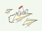 Sketch of flying paper plane with little workers.