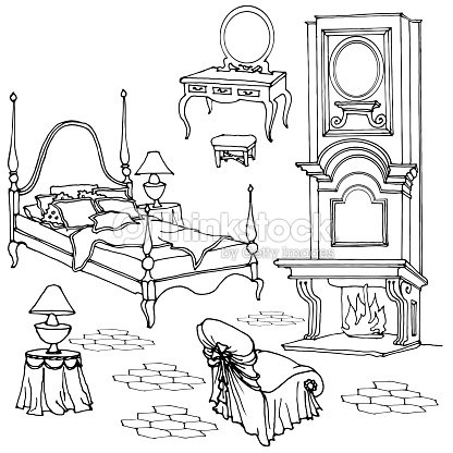 dibujo de muebles para el dormitorio antiguo con chimenea 10346 | sketch of furniture for classic old bedroom with fireplace dressing vector id657673408 s 170667a w 1007