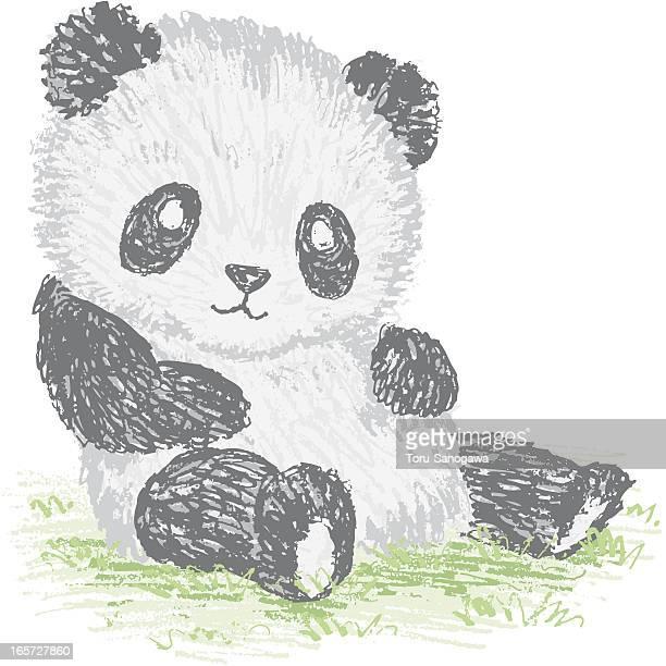 sketch of giant panda - cute stock illustrations, clip art, cartoons, & icons