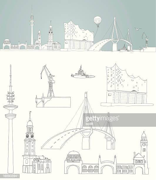 bildbanksillustrationer, clip art samt tecknat material och ikoner med sketch of hamburg -  harbour skyline - international landmark