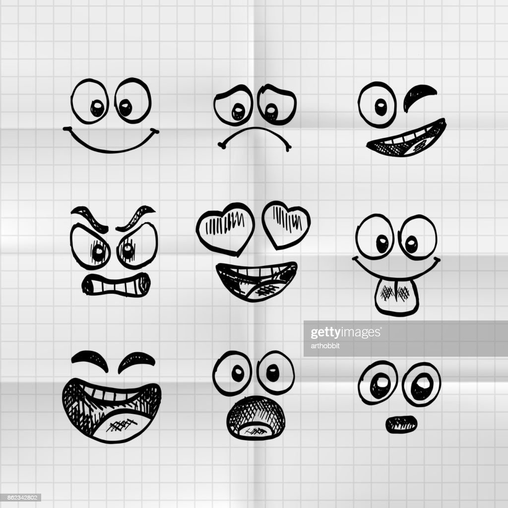 Sketch of hand drawn set of cartoon emoji.