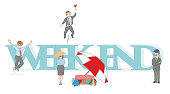Sketch of little people with a big word 'weekend'. Hand drawn cartoon vector illustration for design and infographics.