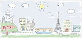 sketch of Paris city France child style drawing