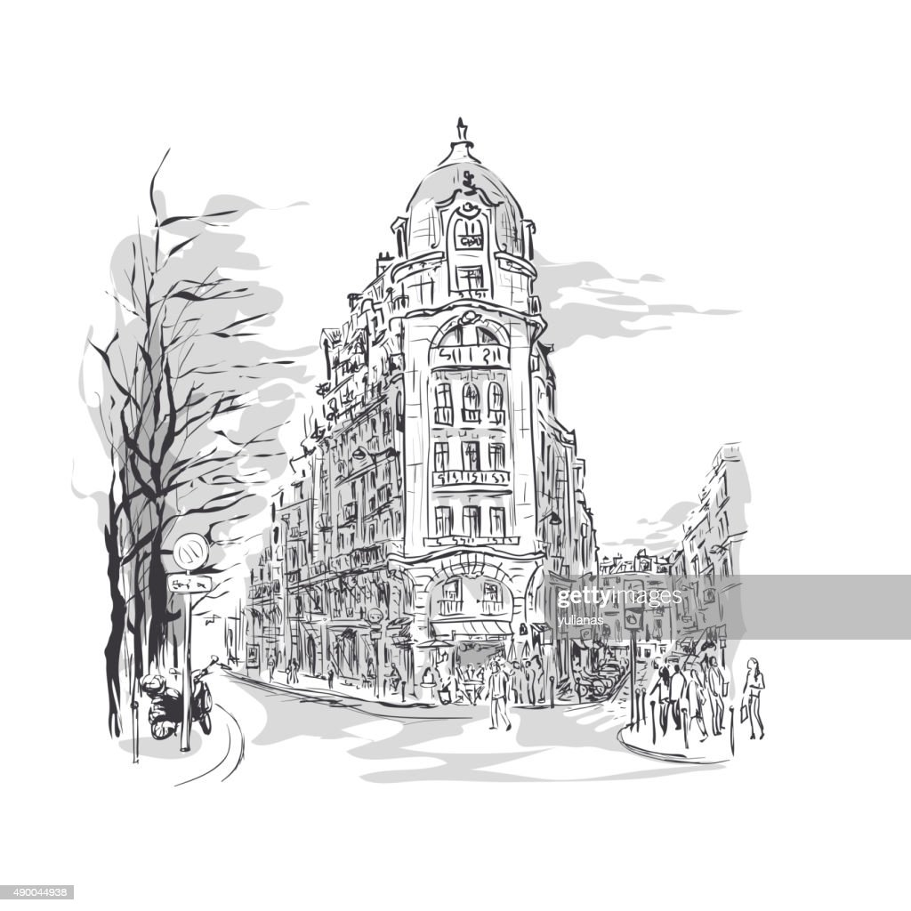 sketch of Parisian street