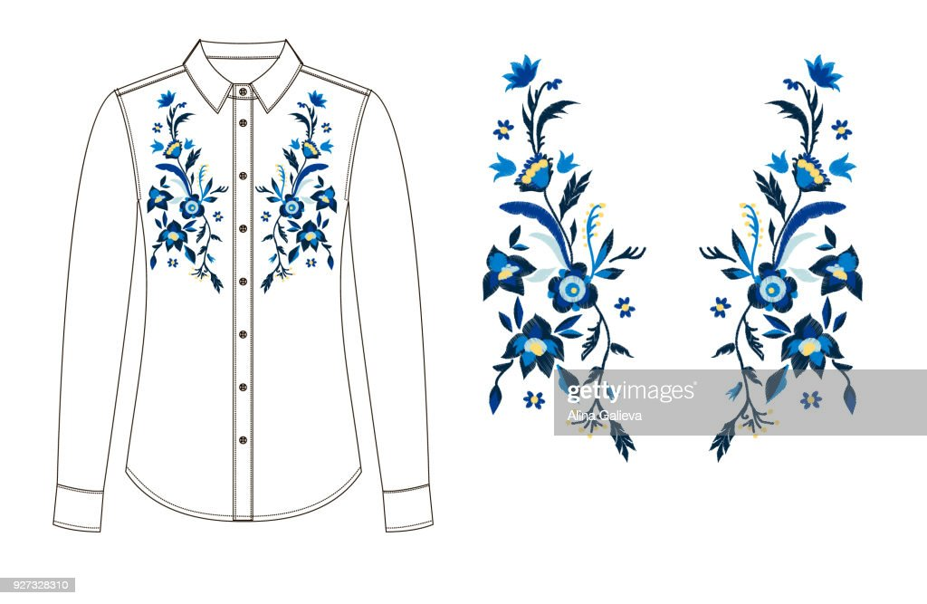 sketch of parts of blouse with embroidery.