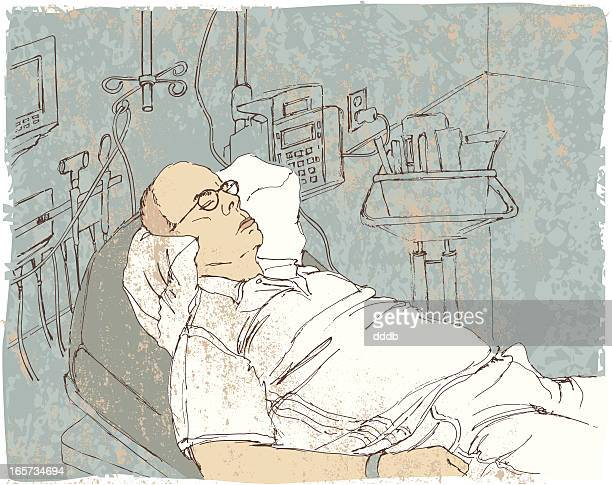 sketch of patient in emergency room - sick person stock illustrations, clip art, cartoons, & icons