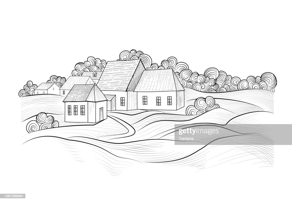 Sketch of rural landscape with hills, fields and countryhouse. Skyline with coundtry houses and farm buildings