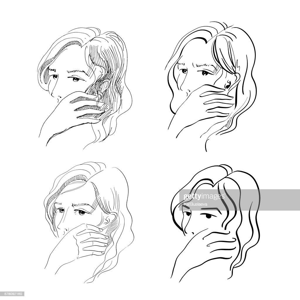 sketch of sad woman