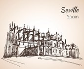 Sketch of spain city Seville. The Cathedral of Saint Mary of the See.