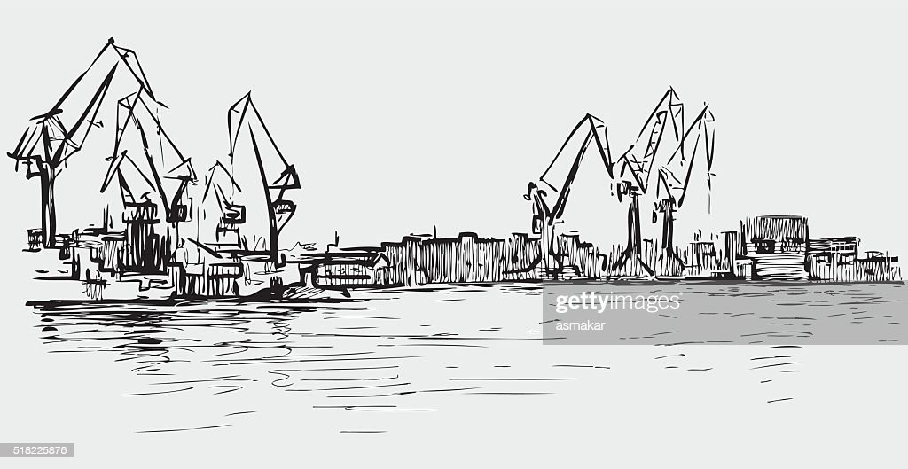 sketch of the cranes in the seaport