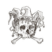 Sketch of the skull of a joker in a comic cap.