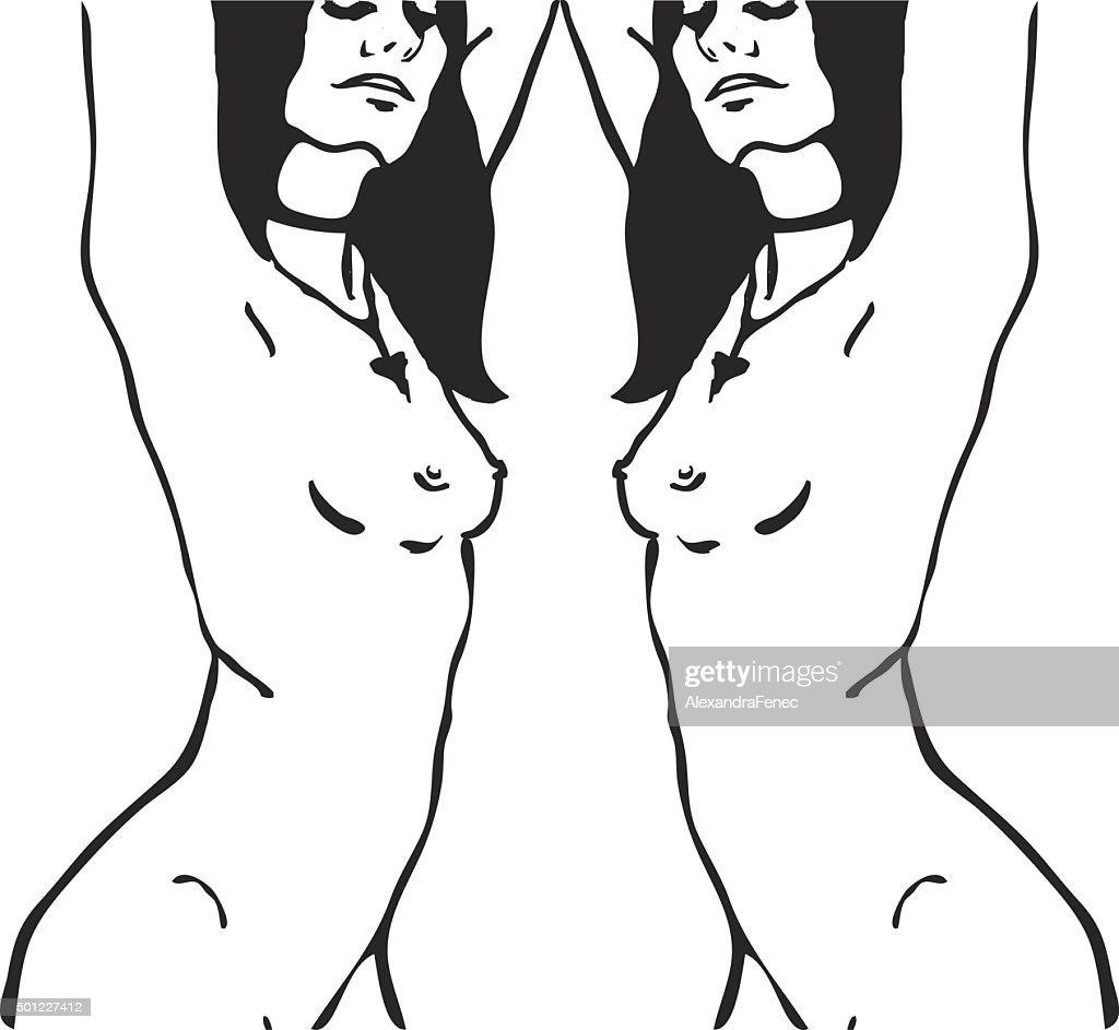 Skizze Von Zwei Nackt Frau Oberkörper Vektorgrafik | Getty Images