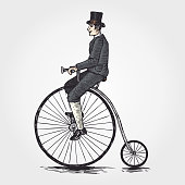 Sketch of Victorian man riding a penny farthing bicycle