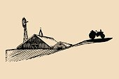 Sketch of village barn, tractor and windmill. Vector rural landscape illustration. Hand drawn agricultural homestead.