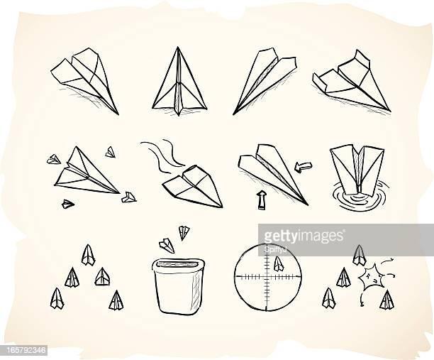 illustrations, cliparts, dessins animés et icônes de croquis avion en papier grunge icônes - catastrophe aérienne