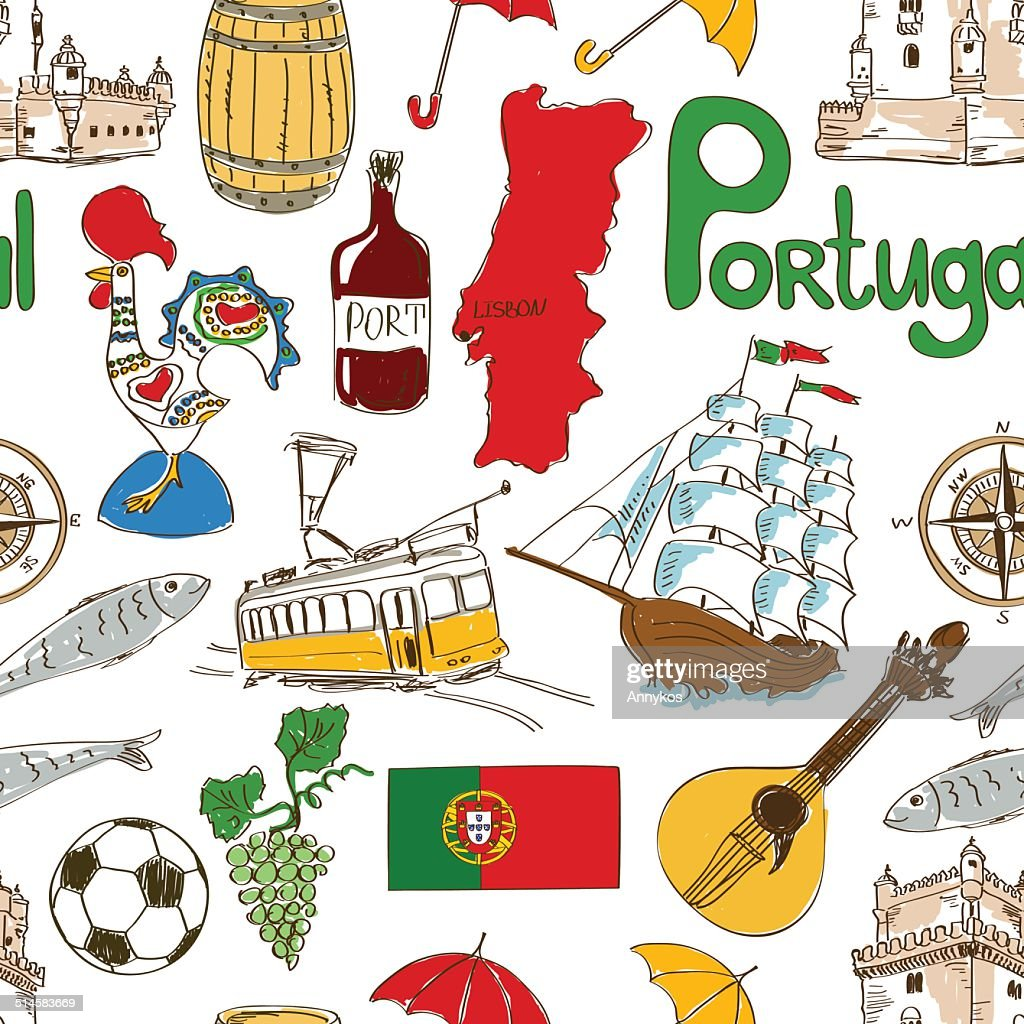 Sketch Portugal seamless pattern