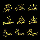 Sketch queen crowns and hand drawn princess diadem vector beauty and fashion shopping icon set