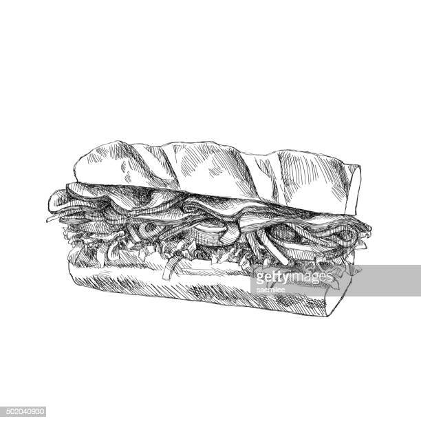 illustrations, cliparts, dessins animés et icônes de croquis sandwich - baguette de pain