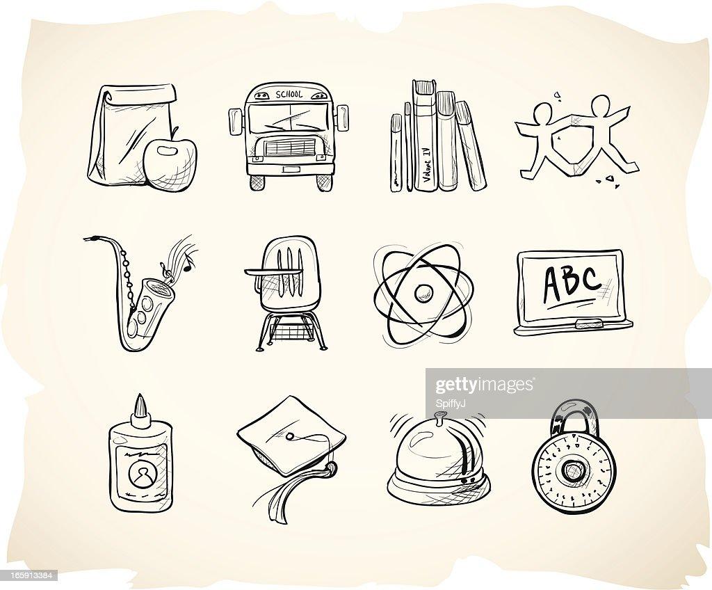 Sketch School Icons : stock illustration