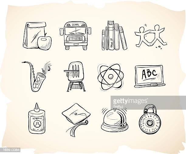 sketch school icons - high school student stock illustrations, clip art, cartoons, & icons