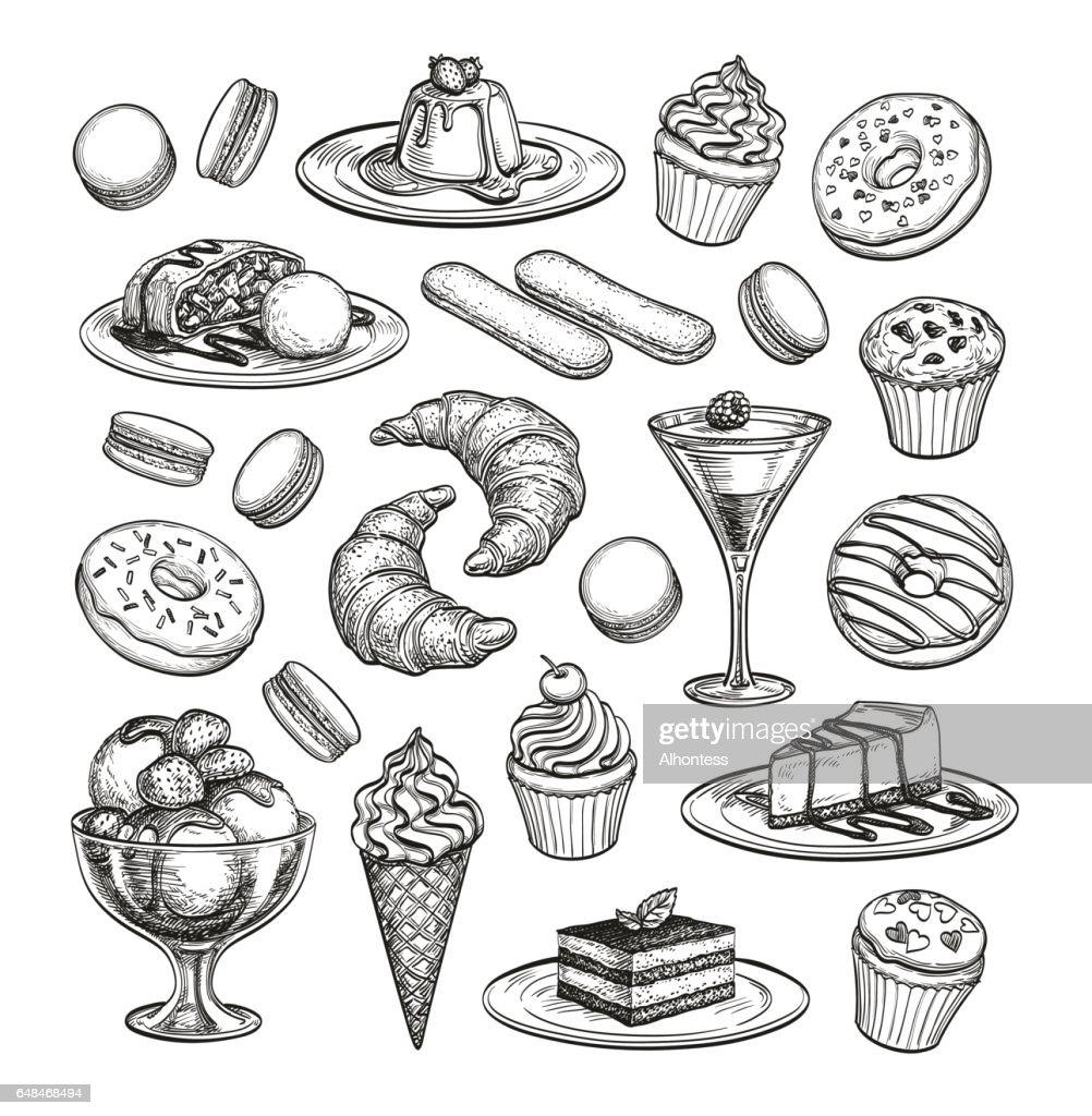 Sketch set of dessert.