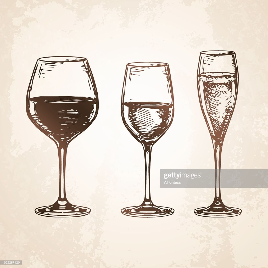 Sketch set of wineglasses.