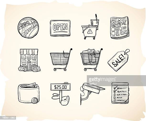 sketch shopping store icons - shopping cart stock illustrations