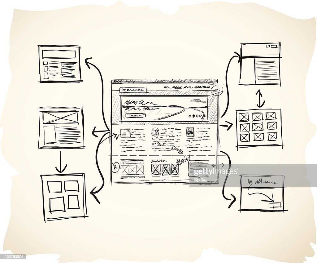 Sketch sitemap with wireframe : stock illustration