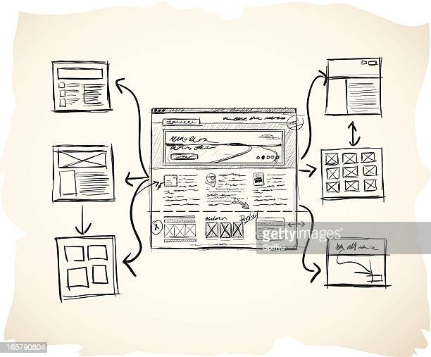 sketch sitemap with wireframe - sketch stock illustrations