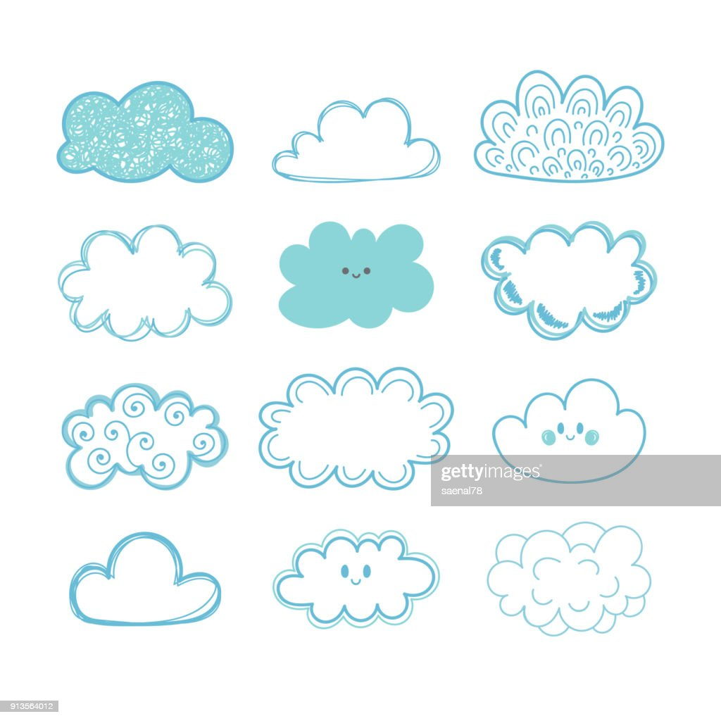 Sketch sky. Doodle collection of hand drawn clouds