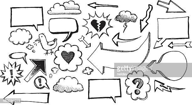 sketch speech bubbles and arrows - thought bubble stock illustrations