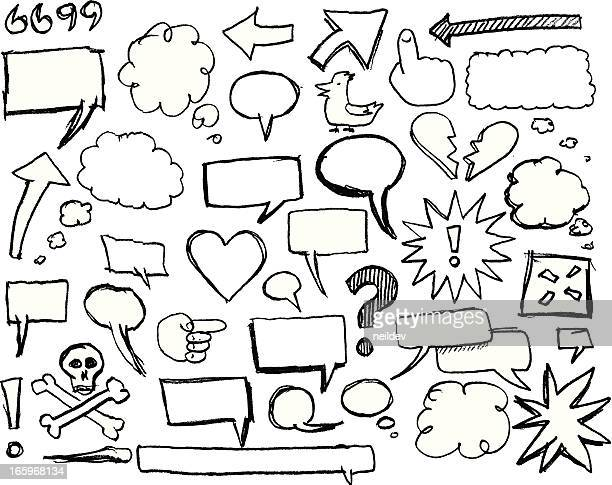 sketch speech bubbles and graphics - thought bubble stock illustrations