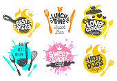 Sketch style cooking lettering icons set.