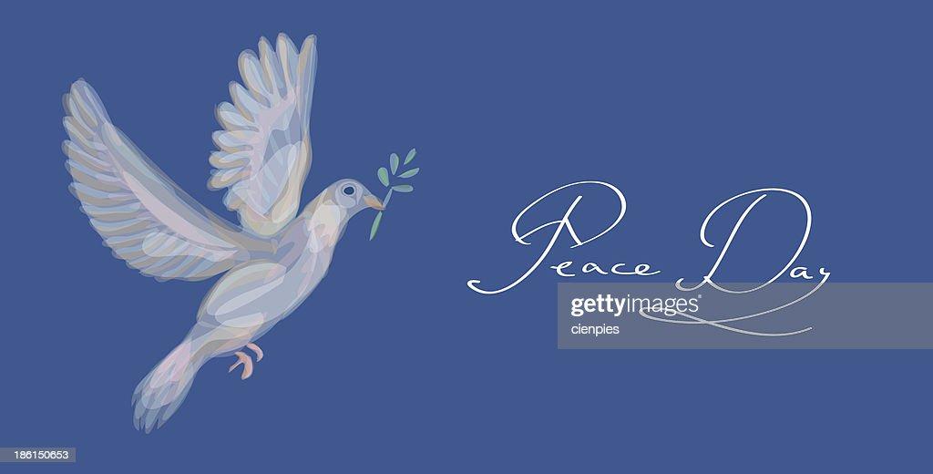 Sketch Style Peace Dove Symbol Blue Background Eps10 File