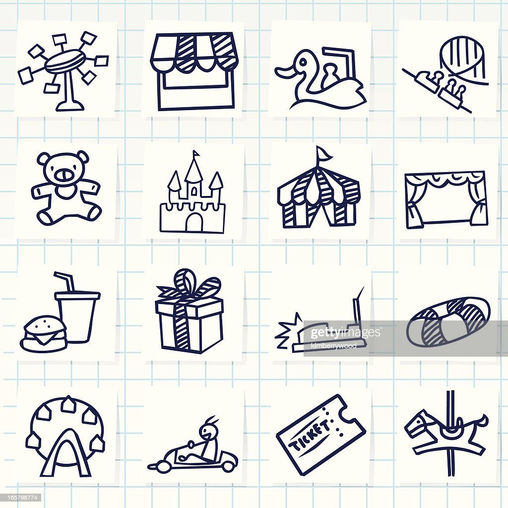 Sketch style Theme Park icons