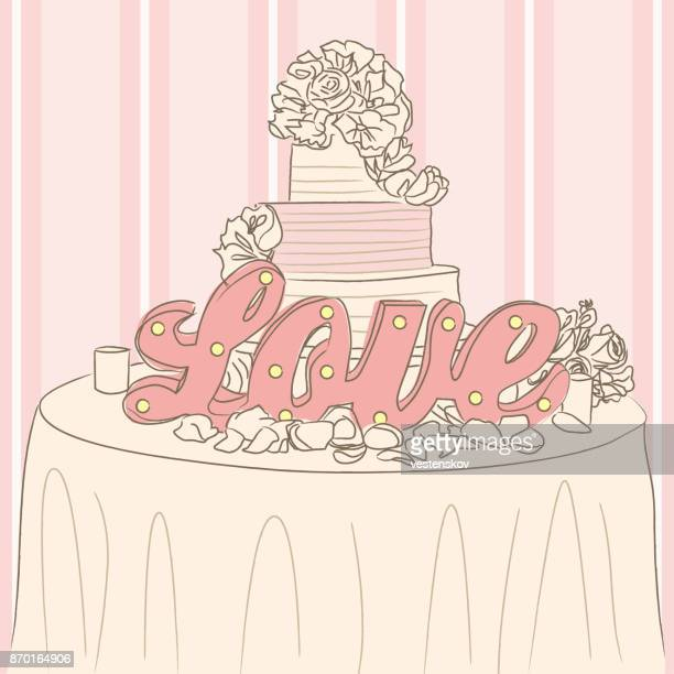 sketch style wedding cake with love - wedding cake stock illustrations