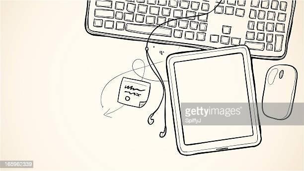 図面スケッチタブレットデバイス - ワイヤーフレーム作成点のイラスト素材/クリップアート素材/マンガ素材/アイコン素材