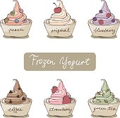 sketch variation flavor frozen yogurt w toppings