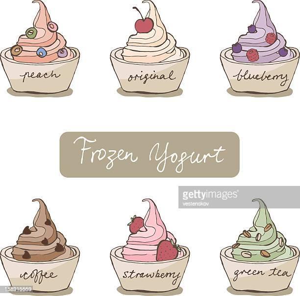 sketch variation flavor frozen yogurt w toppings - frozen yogurt stock illustrations, clip art, cartoons, & icons
