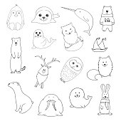Sketch various northern animals. Large set. Vector illustration in doodle style.