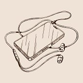 Sketch vector smart phone with headphones and cable.