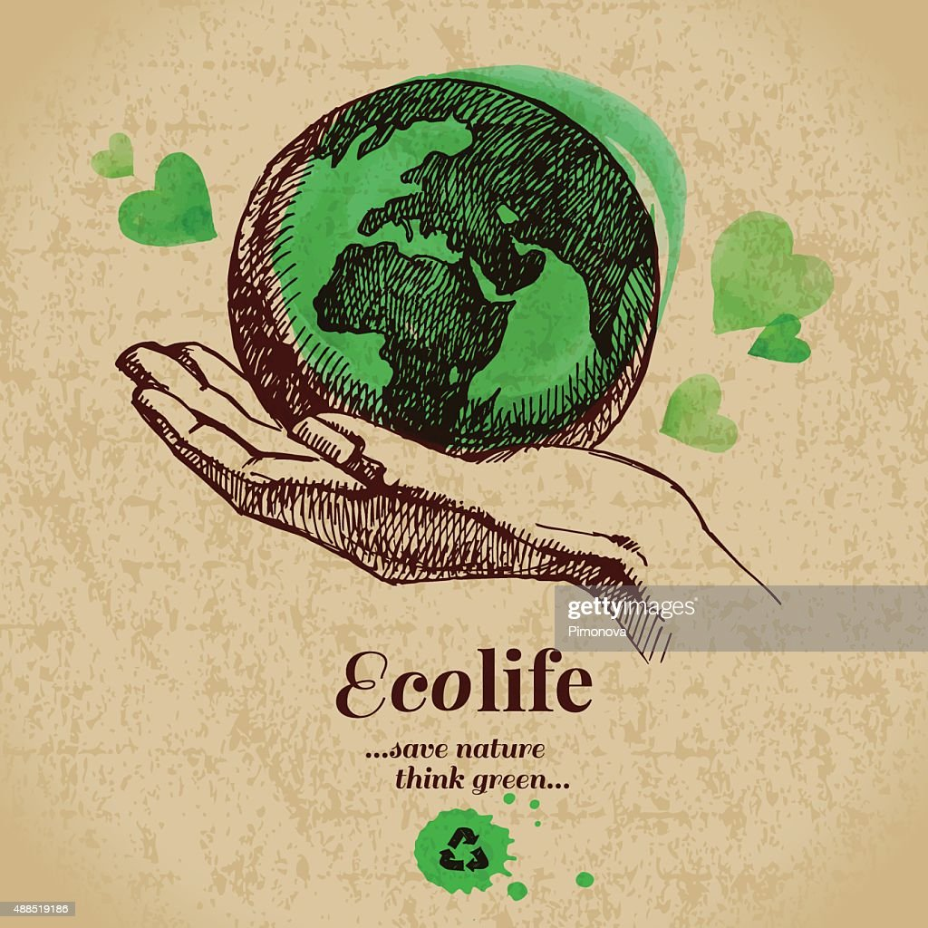 Sketch watercolor ecology poster. Hand drawn vector illustration