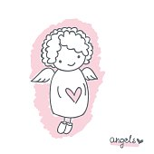 Sketch with cute angel