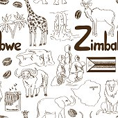 Sketch Zimbabwe seamless pattern