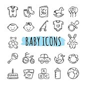 Sketched baby icons vector set. Hand drawn kids symbols