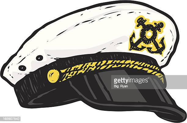 sketched captains hat - boat captain stock illustrations, clip art, cartoons, & icons
